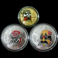 2010年中国京剧脸谱第一组彩色金银纪念币套装