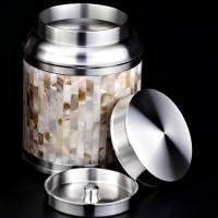 定制           珍珠贝锡罐半斤装纯锡罐锡雕97.9%以上纯锡镶嵌锡罐
