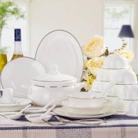 骨瓷餐具 56头景德镇餐具套装陶瓷器碗碟套装 简约风格乔迁礼物
