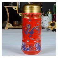 厂家直销批发红釉龙腾盛世保温杯 景泰蓝高档礼品 可印制logo