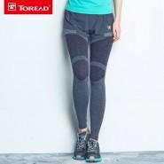 探路者新款女式户外跑一体塑形裤弹力