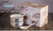 日式手绘骨瓷陶瓷碗勺餐具陶瓷 礼品盒套装 可定制logo