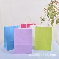 供应高档进口牛皮纸礼品袋 多规格彩色食品包装手提袋子批发