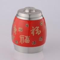 定制           97.9纯锡陶瓷茶叶罐 红色鼓型五福临门密封罐 金属锡罐