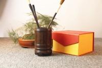 仿古中式工艺品摆件实木雕刻红酸枝花梨木黑檀木质办公红木笔筒
