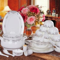碗盘碟套装 景德镇高档家用陶瓷器餐具 欧式骨瓷餐具套装送面碗