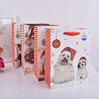 供应白卡纸金粉圣诞礼品袋 创意圣诞动物礼品包装手提袋子批发