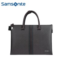 Samsonite/新秀丽87Q*003公文包 商务男士手提包 时尚横款牛皮包