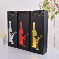 厂家直销供应 时尚纸盒礼品袋 高档黑卡烫金酒杯礼品包装袋