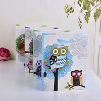 卡通猫头鹰图案礼品袋 高档白卡礼品包装袋 厂家直销供应