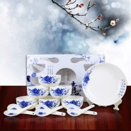 供应青花瓷 韩式碗 餐具套装 礼品袋套装十碗十勺餐具
