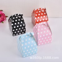 供应折叠礼品盒圆点系列包装纸盒 优质白卡纸糖果包装纸盒批发