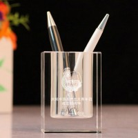 个性定制同学毕业聚会水晶笔筒纪念品摆件公司商务实用礼品印logo