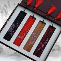 古典红木书签  于非闇花鸟彩绘 中国风创意可定制商务礼品