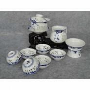 玲珑紫砂茶具10头玲珑青花(盖碗) 会议商务活动礼品