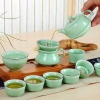 龙泉青瓷盖碗工夫茶杯套装 陶瓷茶具鱼杯