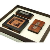 红木紫光檀名片夹名片座便签盒文具三件套酸枝苗银镶嵌可定制刻字