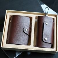 厂家直销供应荔枝真皮纹卡包钥匙包套装多卡位促销批发卡套包