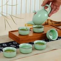 一套也可以印LOGO定制 7头青瓷浮雕鱼杯茶具