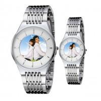 新款 细腻钢带情侣手表定制 相片手表定做 加LOGO 背面刻字 防水