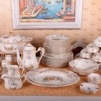 欧式高档浮雕宫廷骨瓷餐具套装 70头手工描金欧式咖啡具套装送礼