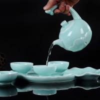 整套茶具一壶四杯功夫套装 logo定制礼品盒 陶瓷小茶盘泡茶器