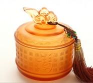 新年送客户纪念商务礼品定制琉璃茶叶罐实用开业送礼高档礼品摆件