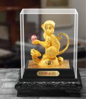 定制            绒沙金招财猴镀金工艺品财神摆件生肖金猴年开业招财会销定制