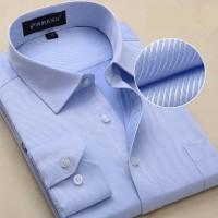 夏季中年男士长袖衬衫 修身条纹工装白衬衣 商务男装加大码工作服