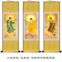 定制             西方三圣之观世音菩萨阿弥陀佛大势至菩萨画像丝绸卷国画水墨挂画