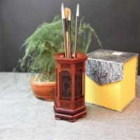 工艺品木雕刻摆件福字可旋转红木办公礼品黑红酸枝笔筒实木质