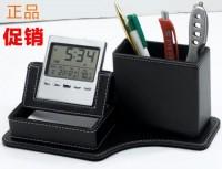 皮革多功能万年历笔筒商务礼品定制印logo公司节庆员工广告纪念品