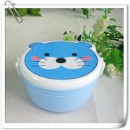 厂家定制蓝色可爱猫型儿童便当盒饭盒 午餐广告保温卡通饭盒 印字