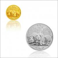 2013年版熊猫金银纪念币 1/10盎司金+1盎司银币 熊猫金银币 套装