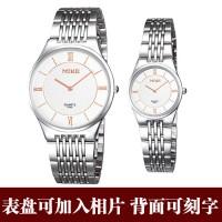 超薄时尚情侣手表定做 照片手表定制  背面可刻字 个性礼物