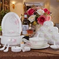 餐具套装 景德镇陶瓷器碗盘碟套装 56头骨瓷韩式套碗 婚庆礼品