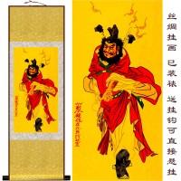 定制             天师 钟馗在此 斩妖除魔 卷轴 水墨画 丝绸画 国画已装裱可定制