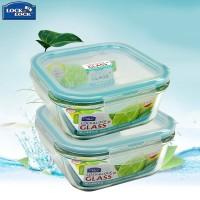 乐扣乐扣玻璃饭盒套装 微波炉专用保鲜盒 大容量长方形冰箱收纳盒