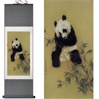 定制             国宝 银杏熊猫 母子和谐图 送老外必备品丝绸画卷轴挂画特色国画