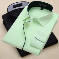 男士长袖衬衫条纹工作服商务韩版修身职业工装纯色大码定制绣LOGO