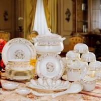 餐具套装 景德镇陶瓷器碗碟碗盘碗筷套装 高档金边欧式骨瓷碗送礼