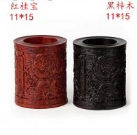 高档实木雕刻原木红木木制笔筒摆设 创意木质笔筒木摆件 办公礼品