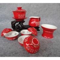 玲珑紫砂茶具10头玲珑红瓷(盖碗)会议商务活动礼品