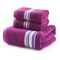 毛巾 浴巾 套装 三件套 纯棉 素缎 吸水 1浴巾+2毛巾 可配礼盒