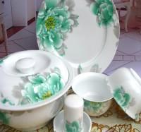 定制景德镇骨瓷餐具56头现代碗盘碟乔迁结婚礼品定制定做可印广告logo
