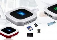 8018   USB HUB七彩光读卡器 (可以读SD卡、TF卡、MS卡和M2卡)