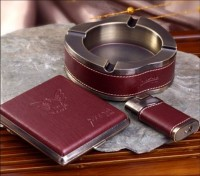 商务套装办公礼品 烟灰缸打火机香烟盒套装 展会礼品 会议礼品可印logo