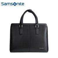 Samsonite/新秀丽87Q*004公文包 时尚商务男士牛皮质手提包 黑色