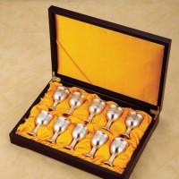 定制            搭配热卖 十只装红酒杯套装酒具 锡器金属高档锡雕 小号礼盒