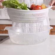 炫彩塑料圆形双 层沥水果篮 厨房洗菜篮水果篮蔬菜筐